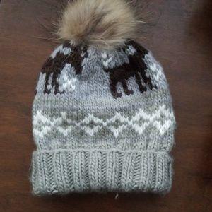 CHAOS fox fur trim knit hat